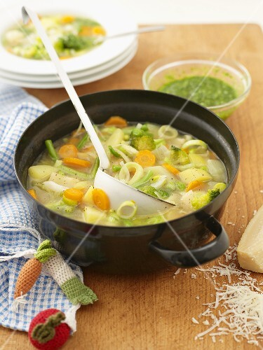 Vegetable soup in pot