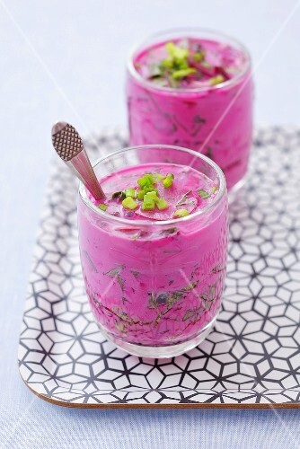 Chlodnik (Cold soup made with young beetroot, leaves & kefir)
