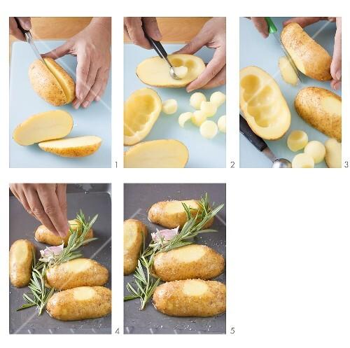 Preparing baked potatoes