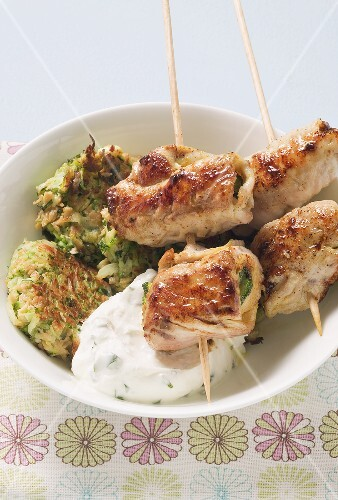 Courgette cakes with turkey rolls