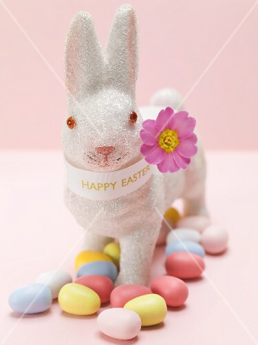 Easter Bunny and coloured sugar eggs