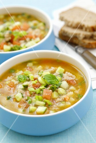 Cold tomato and gherkin soup with bread