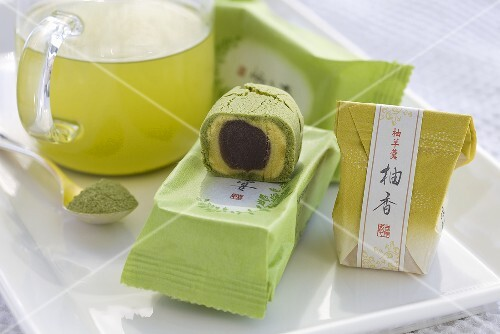 Matcha roll filled with sweet red bean paste (Japan)