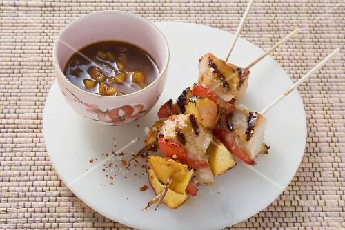 Turkey and peach kebabs