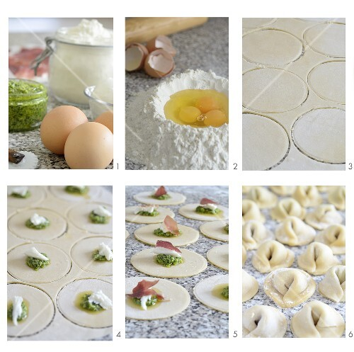 Tortellini with a pesto-ricotta filling being made