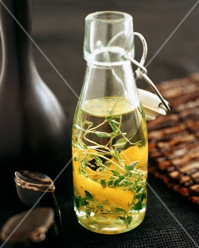 Olive oil flavoured with herbs and lemon