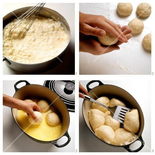 Preparing Dampfnudeln (dumpling cakes)