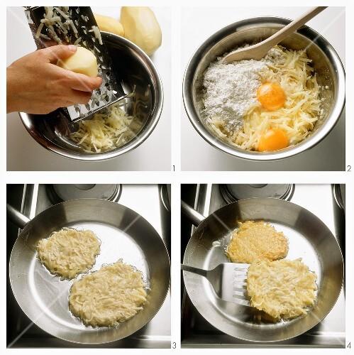 Preparing potato rosti