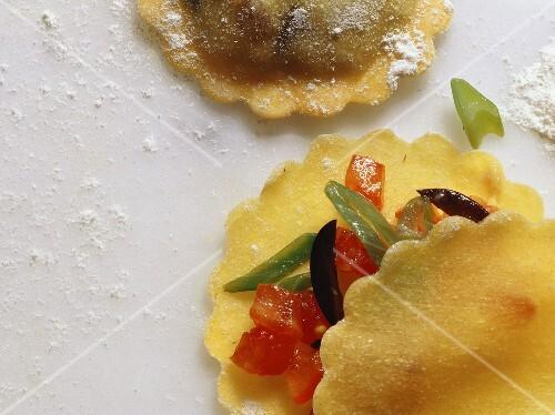 Ravioli with Olive-Tomato Stuffing