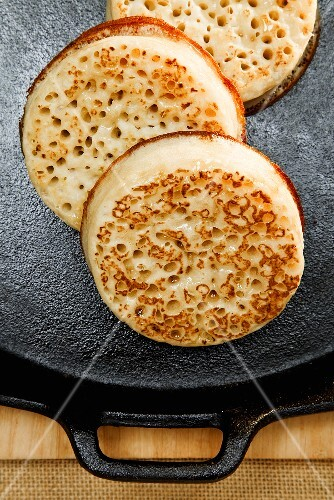 Crumpets on a griddle (UK)