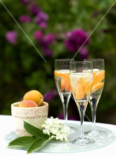 Champagne with apricots and elderflowers