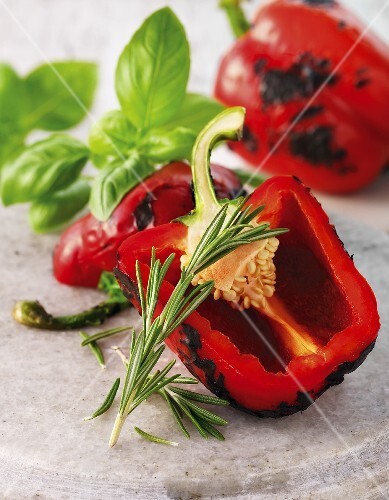 Roasted peppers with rosemary and basil