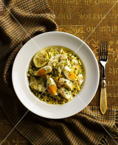 Kedgeree (rice dish with curry, fish and egg, England)