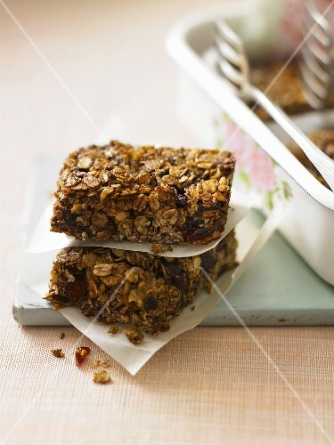 Two muesli slices, stacked