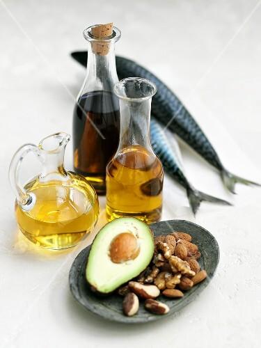 Olive oil, mackerel, avocado and nuts