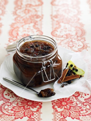 Green tomato chutney in a preserving jar