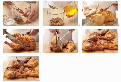 Roast chicken being prepared