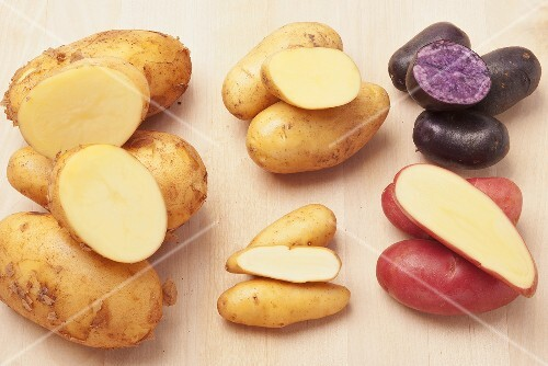 Waxy and floury potatoes, truffle potatoes and red potatoes