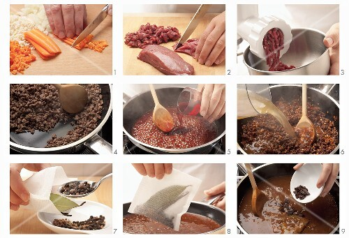 Venison bolognese being prepared