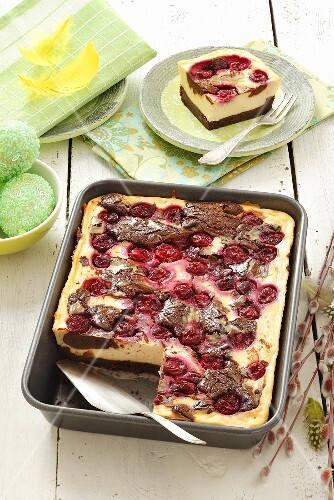 Tray-bake cheesecake with sour cherries