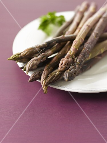 A plate of purple asparagus