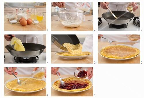 Crepes mit Marmeladenfüllung zubereiten