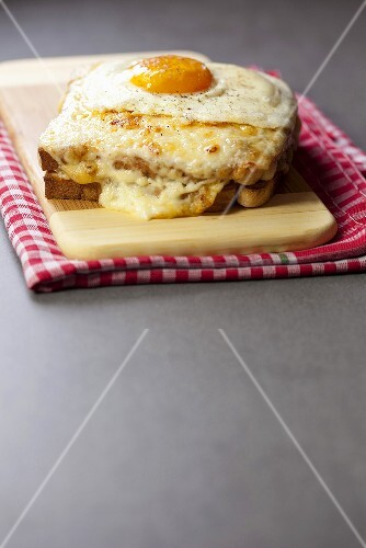 Croque Madame (ham and cheese toast) with fried egg