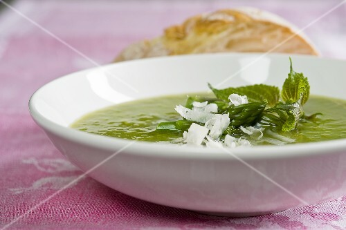 Zuppa di asparagi (cream of asparagus soup with stinging nettles)