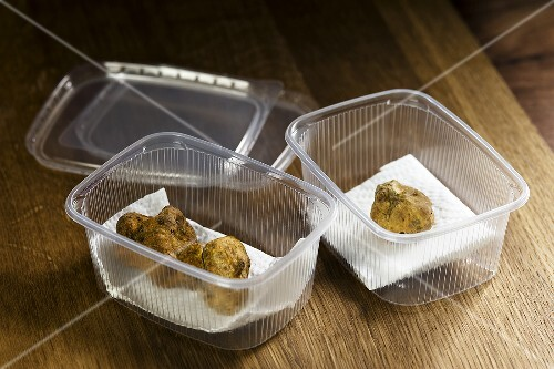 Truffles in storage containers