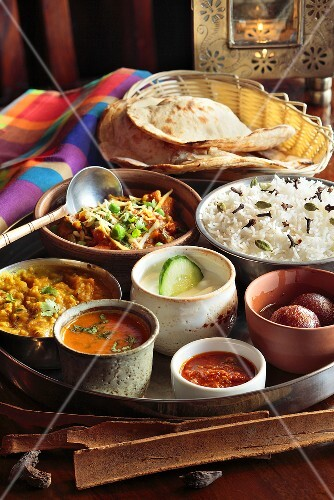 Various of Indian dishes on a table