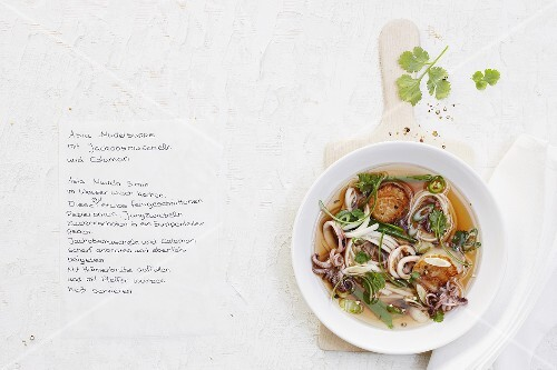 Oriental noodle soup with scallops and calamari