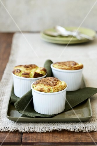 Cheese-spinach souffles