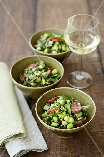 Bean and lentil salad with chorizo