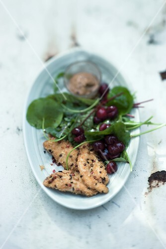 Sour cherry salad with roast guinea fowl