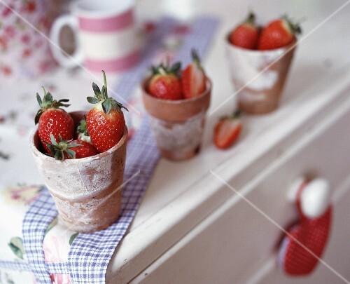 Strawberries in earthenware pots