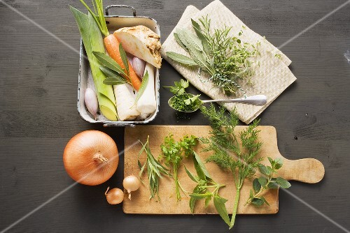 Fresh herbs and soup vegetables