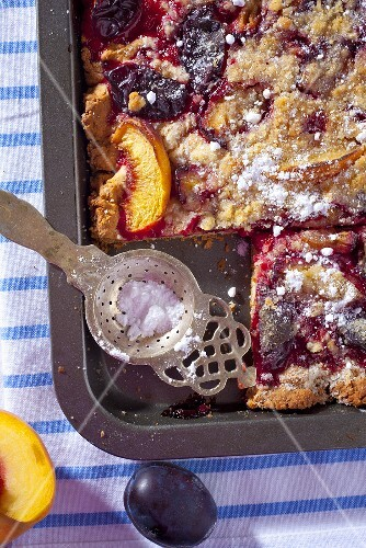Plum and apple tray bake