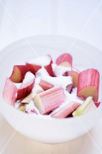 Rhubarb with sugar