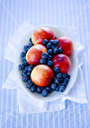 A bowl of nectarines and blueberries