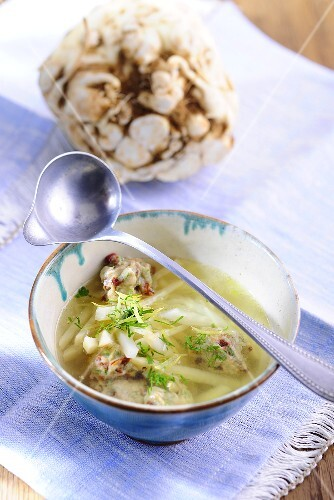 Cellery soup with bacon dumplings