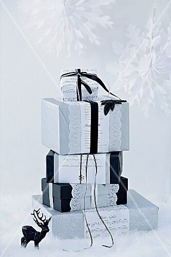 Original wrapping for Christmas gifts in black and white