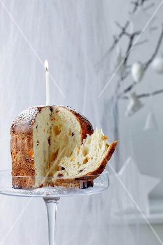 Panettone (Traditioneller Weihnachtskuchen mit Kerze)