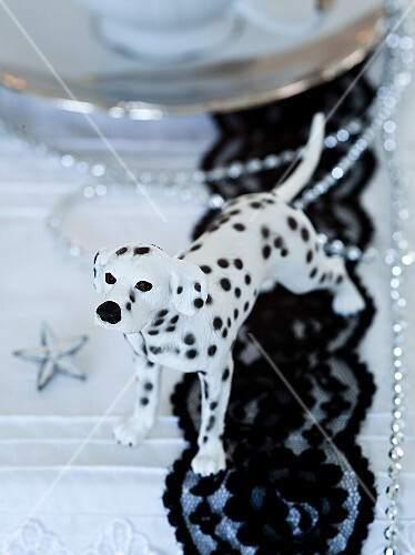 A Dalmatian figurine as table decoration for Christmas
