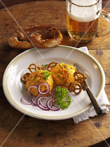 Obatzda with pretzels and beer