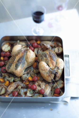 Bay leaf chicken with braised vegetables