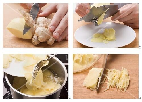 Preparing pickled ginger