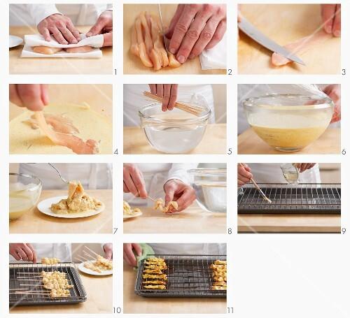 Hähnchen-Sate zubereiten