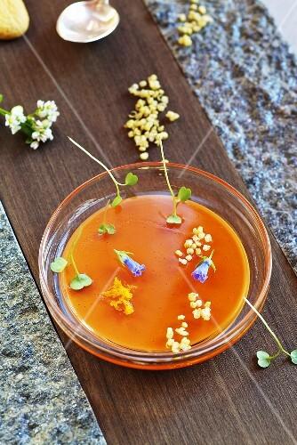 Campari-tangerine jelly in a bowl