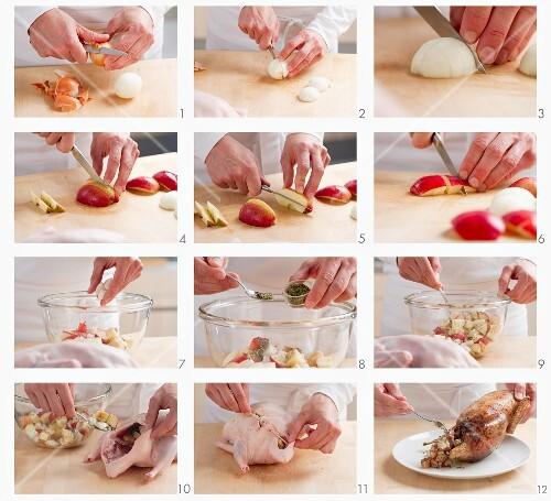 Preparing duck with apple dressing