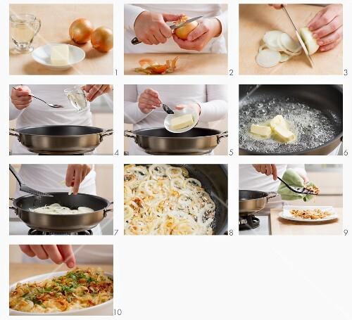 Zwiebelringe anbraten und Käsespätzle damit garnieren